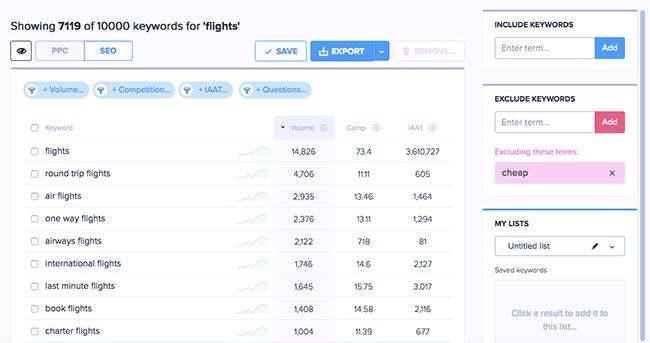 FIltered flights results.