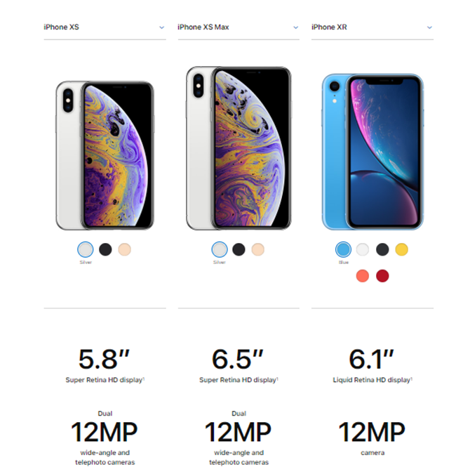 Apple product comparison