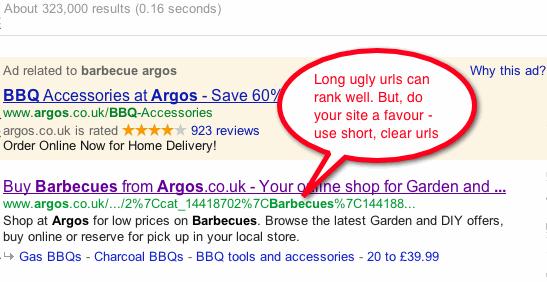 Long ugly URL.