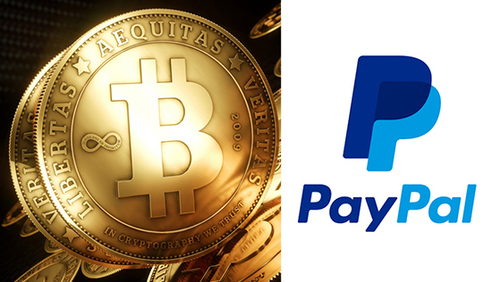 bitcoin with paypal logo