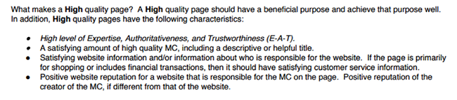 Google quality guidelines.