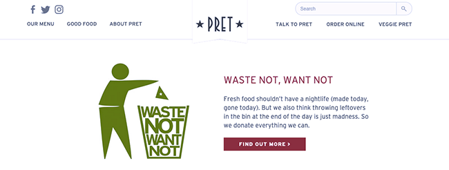 Pret food waste policy.