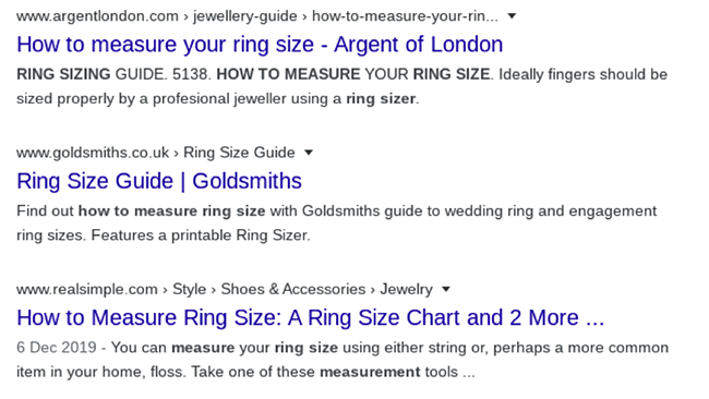 Ring size.