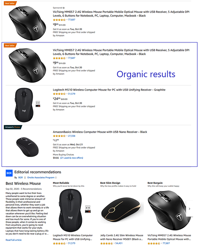 Amazon organic results.