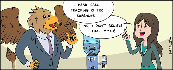 Cartoon griffin business person talking about call tracking myths