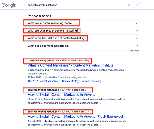 Content marketing search results.