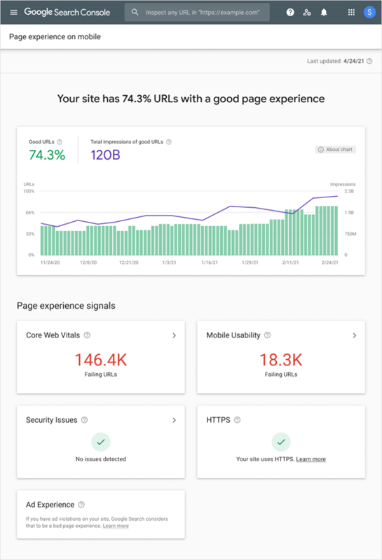 Page Experience Report.