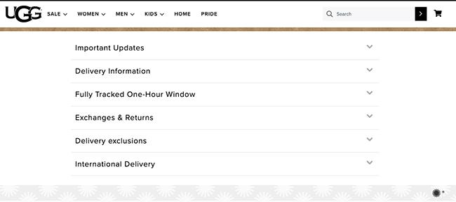 UGG delivery information.